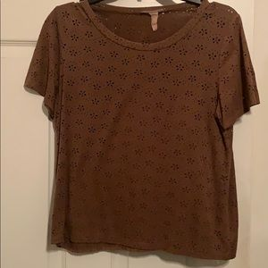 Brown short sleeve shirt with flower cut outs